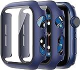 Diruite 2 Pièces Coque pour Apple Watch Series 6/5/4/SE Protection Écran,Dur PC Matériel Coque,Ultra Mince Verre Trempé Écran Coque pour iWatch Série 6/SE/5/4 44mm