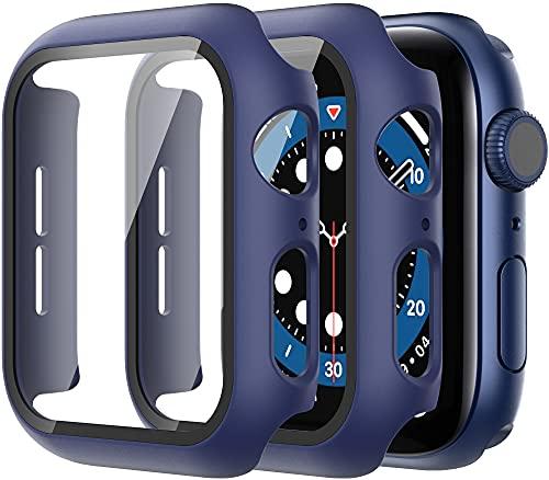 Diruite 2-Stück Hülle für Apple Watch Series 7/6/5/4/SE Panzerglas Schutzhülle,Hard PC R&um Bildschirmschutz Superdünne Schutz Hülle für iWatch Series 7/6/5/4/SE