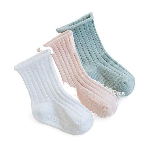 Calcetines antideslizantes de primavera para bebé con doble aguja, para recién nacidos, para niños