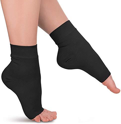 Ankle Compression Sleeve - 20-30mmhg Open Toe Сompression Socks for Swelling, Plantar Fasciitis, Sprain, Neuropathy - Nano Brace for Women and Men (Medium, Dark Black)