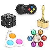 Sensory Fidget Toys Set, Push Bubble, Fidget Game Pad, Infinity Cube Blocks,Copper Fidget Hamemr Spinner, Fidget Bean Chain, Elemental Balls Fidgit Spinners Gift Kit for Kids Adults