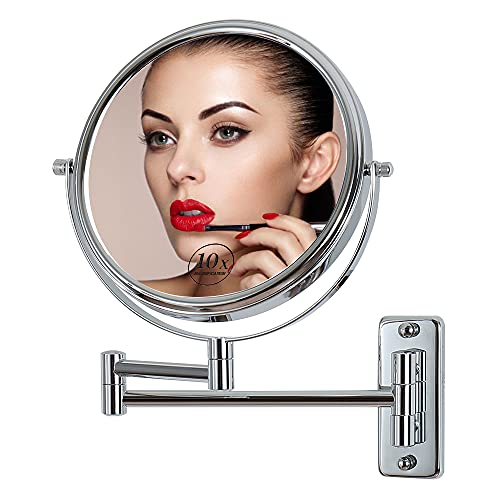 Wall-Mounted Makeup Mirror, 10x Magnification,180 Degree Left and Right Swing arm 8 inches360 Degree Rotating Double-Sided Bathroom Mirror, Polished Chrome Finish