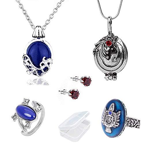 YouU Vampire Diaries Halskette von Katherine Pierce und Halskette von Elena Gilbert und Ohrringe und Familienwappen Ring Esthers Geheimnis mit Aufbewahrungsbox(5 Stück)