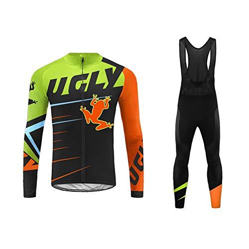 Uglyfrog Bike Wear Designs Maillots de Bicicleta Maillots de Bicicleta Traje de Invierno Hombres Ropa de Ciclo Jersey de Manga Larga + Pantalones Bib Acolchados Cómodo