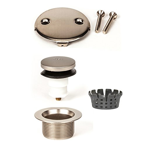 PF WaterWorks Toe TouchBathtub/Bath Tub Drain Trim Kit (Drain + Stopper + Double/Two (2) Hole Face Plate) - Coarse 11.5 TPI - Free Hair Catcher; Brushed Nickel; PF0971-BN-TT-C