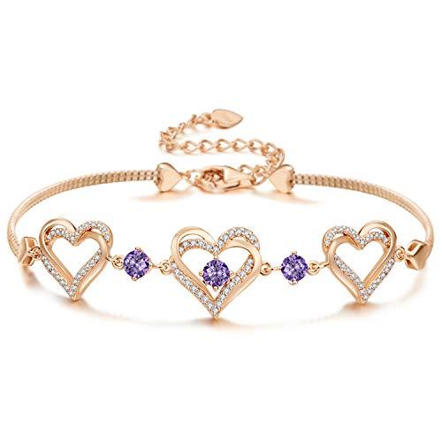 Armbänder für Damen 925 Sterling Silber Herz Rosengold Geburtsstein Anhänger Schmuck für Damen Geschenk mit 5A Kubik Zirkonia (Februar)