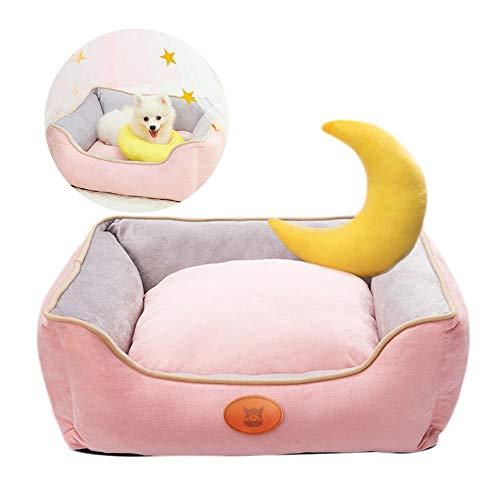 LSM Hundebetten Haustier Hundebett mit Mond Rückenlehne, Hundebetten für Kleine Hunde & Katzen - Abnehmbare Waschbare Haustierbetten Prinzessin Bett - Mehrere Farben Größen