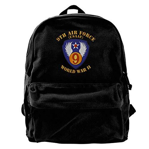 AAC 9th Air Force Vintage Unisex Canvas Shoulder Bag Mochila de Viaje Mochilas Escolares