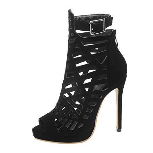 Birdsight Damen Stiletto High Heels Peeptoes Sommer Gladiator Römisch Stiefeletten mit Reissverschluss und Schnalle Cut Out Elegant Sommer Schuhe (EU 45, Schwarz)