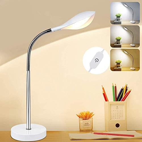 Depuley LED Schreibtischlampe Dimmbar 3 Farb, 4.5W Nachttischlampe für Kinder, 3000-6000k, 350lm LED Tischleuchte mit 1.5M PVC Kable, Einstellbare Tischlampe für Lesen Büro Wohnzimmer Schlafzimmer