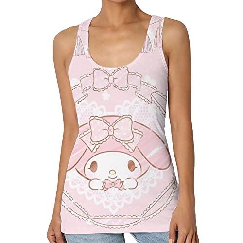 Hello Kitty Melody - Chaleco para mujer con estampado en forma de I de microfibra con cuello redondo sin mangas de punto informal para
