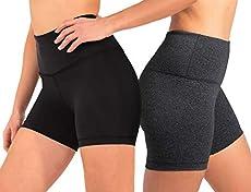90 Degree By Reflex - Power Flex Yoga Shorts - Black and Heather Charcoal 2 Pack - Medium