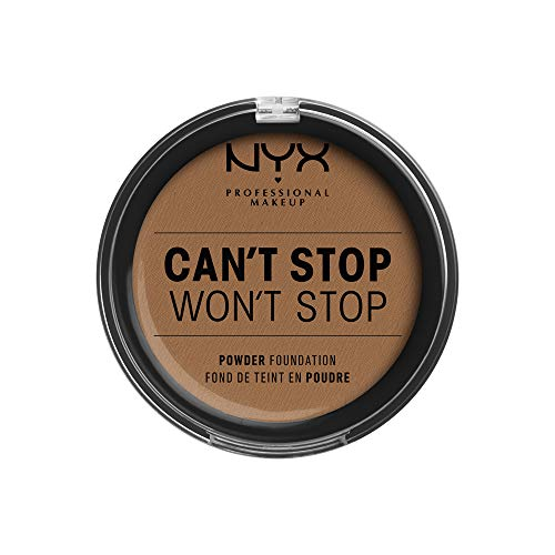 NYX Professional Makeup Fond de Teint Compact Haute Couvrance Can't Stop Won't Stop, Fini Mat, Contrôle de la Brillance, Tenue Longue Durée, Teinte : Mahogany