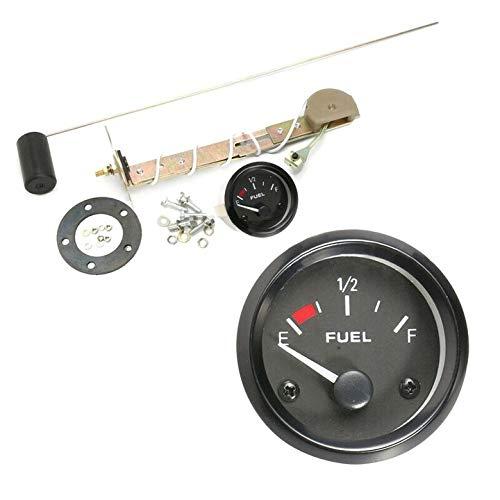 Semine - Medidor de nivel de combustible de gasolina con gafas de color rojo analógico LED para coche, marino, barco, 52 mm, 12 V, color negro