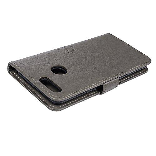 YOKIRIN Huawei Honor 7X Lederhülle Hülle Case für Huawei Honor 7X Flipcase Tasche Handyhülle Etui Eule Baum Muster PU Leder Schutzhülle Schale Kartenfächer Magnetverschluss Handyhalter Grau - 4