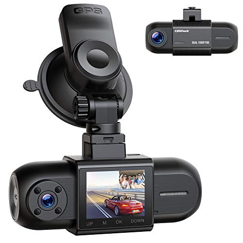 """Dual 1080P Dash Cam w/GPS, Campark Front and Inside Car Camera w/Infrared Night Vision, 1.5"""" LCD Screen Wide Angle Dash Camera for Cars w/Parking Monitor G-Sensor Loop Recording, Support 256GB Max"""
