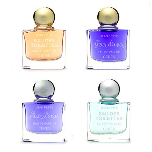 Cuatro botes de perfume en miniatura - 10 ml - «Fleur d'Anus» para