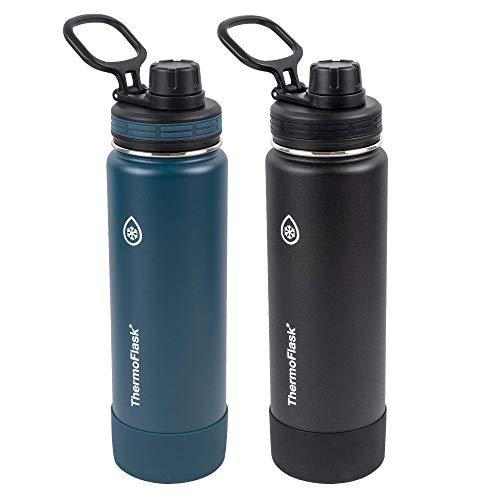 ThermoFlask 24oz Spout Bottle 2pack Mayan Blue, Black