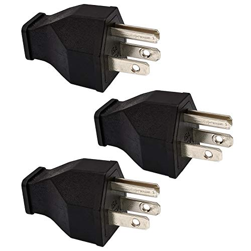 Straight Blade Plug 15 Amp 125 Volt, Grounding 3-Wire Male Extension Cord Replacement, Plug, Straight Blade, Electrical Plugs End Black, 3-PACK