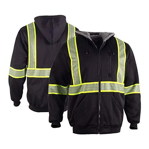FONIRRA Men's High Visibility Safety ANSI Class 3 Lined Fleece Hoodie Sweatshirt with Black Bottom,Hi-Viz Jacket Hooded Jumper Workwear for Men(Black,2XL)