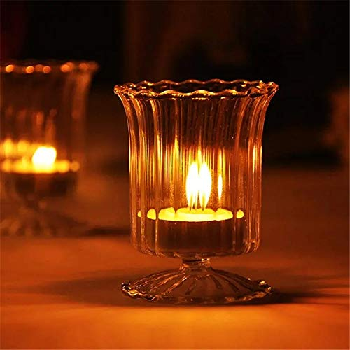Kandelaar Cup Glazen kaarshouder Candelabrum kandelaar Candle Light Dinner Wedding Decor Gift Ornament Voor Thuisfeestdecoratie (Color : Clear, Size : One size)