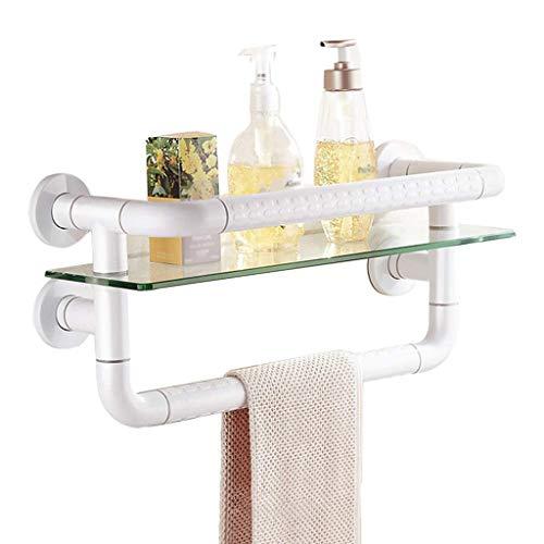 XJJZS Baño Lavabo baño Organizador Estante de la Toalla del Estante de Montaje en Pared de Acero Inoxidable, Blanca