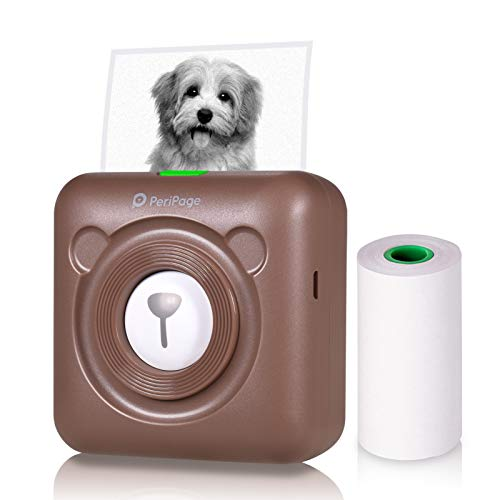Aibecy PeriPage Mini Fotodrucker Wireless BT Thermodrucker Picture Label Memo Receipt Drucker mit USB Kabel fur Android iOS Smartphone Windows Braun