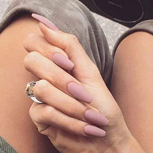 Sethexy 24 Stück Matte Ballerina Rein Farbe Falsche Nägel Sarg Vollständige Abdeckung Mittel Acryl Art Nagelspitzen Für Frauen und Mädchen (Rosa)