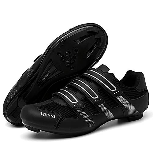 CHUIKUAJ Zapatillas de Ciclismo para Hombre y Mujer con Zapatilla Peloton con Cala Compatible con Zapatillas de Bicicleta con Pedal SPD y Delta Lock,Black-42EU