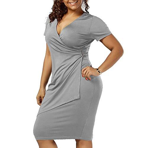 Dicomi ausgehen Kleider für Frauen Plus größe sexy v-Ausschnitt solide Kurzarm Bodycon asymmetrische Dress Abend Party Club Prom Fancy Dress Casual Kleider Grau 5XL