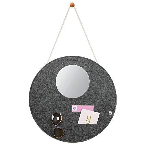 mDesign Portalettere da parete rotondo con specchio integrato – Pratico portadocumenti da muro con 2 ampie tasche multiuso – Portaoggetti da parete in feltro – grigio scuro