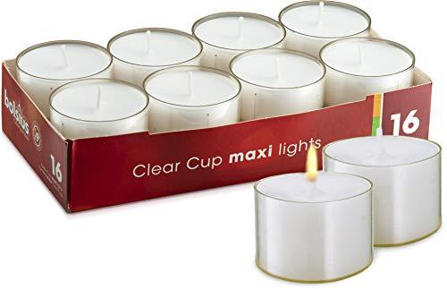 bolsius Maxi-Teelichte, Jumbo-Teelichter, Teelichter, weiß durchgefärbt, 16 STK. im Acrylcup, 9h Brenndauer