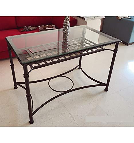 Mesas de forja Baratas Sevilla - Sin aglomerado, Blanco con Oro, Mesa de 110x60 cm, con aro, para Colocar un brasero