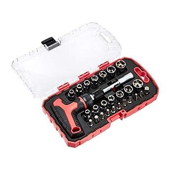 Foto di AmazonBasics Set di chiave a cricchetto e cacciavite magnetici con impugnatura a T, confezione da 27 pezzi