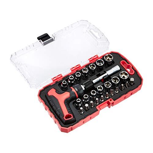 Amazon Basics – Magnetisches Ratschen-Schlüssel-Set mit T-Griff und Schraubendreher-Set, 27-teilig