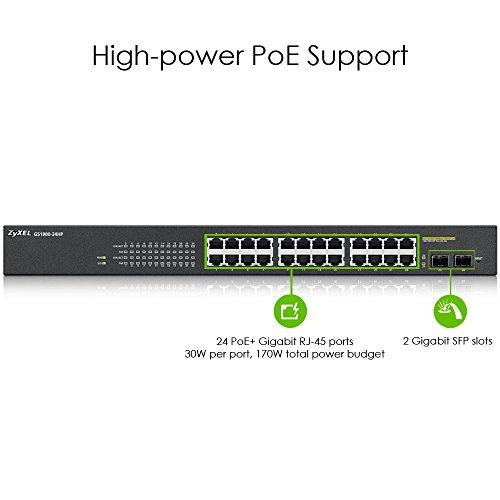 Zyxel 24-Port Gigabit PoE Switch | Smart managed | Rackmontage | 24 PoE+-Ports mit einem Budget von 170 Watt und 2 SFP-Ports | VLAN, IGMP, QoS| Lebenslange Garantie [GS1900-24HP]