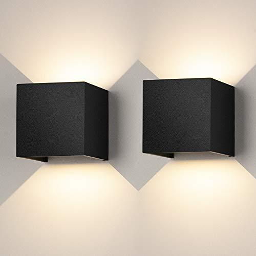 2 Stücke LED Wandleuchte Innen Dreifarbtemperatur Wandlampe mit Auf und ab Einstellbarer Abstrahlwinkel LED Wandbeleuchtung Aluminium Shell Außenwandleuchte Wasserdichte IP65 (Schwarz)