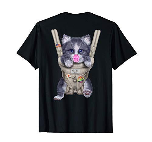 Gato gris bicolor con chupete en portabebé Camiseta