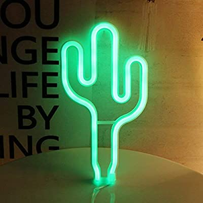 DANIDEER Led Neon Sign Art Decorative Lights Table Decoration Wall Decor Neon Lamp with Glow Light for Kids Room Living Room Bedroom Unique Gift for Any Occasion (Cactus)