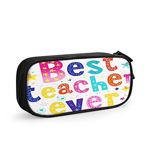 Giorno migliore insegnante di sempre Astuccio Grande Capacità Astuccio Multifunzione Con 2 Cerniera Scomparti per Ragazzo e Ragazza
