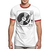 Darren K Lemay Giradischi-Musica in Vinile con Disco Dj Maglietta T-Shirt da Uomo alla Moda Ringer Comfort Maglietta a Manica Corta Top