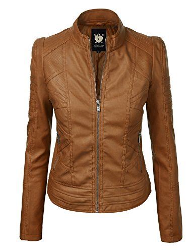 Lock and Love WJC746 Womens Vegan Leather Motorcycle Jacket S Camel