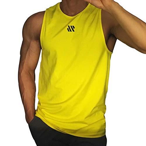 Samy タンクトップ メンズ トレーニング ノースリーブ ボディビル 筋トレ Tシャツ トレーニング スポーツウェア トップス 大きなサイズ BX-097 イエロー 3XL
