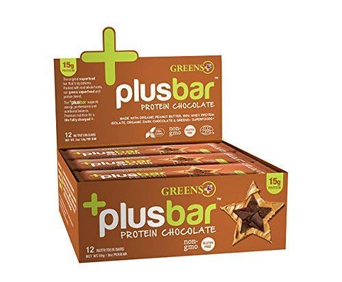 Greens+ Plusbar Protein Chocolate   Gluten Free Whey Protein Bar   Organic Greens   Organic Dark Chocolate   Non GMO   12 Bars