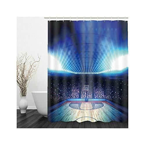 Aeici Bad Vorhang Fenster Duschvorhang Antischimmel mit Ring,Basketball Platz Badewannenvorhang 165x180 cm Duschvorhang für Vorhangschiene Blau