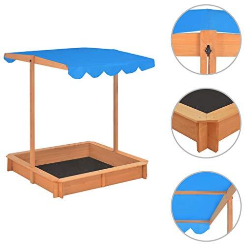 vidaXL Zandbak met Verstelbaar Dak Hout Blauw Zandbakken Kinderspeelgoed