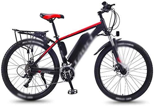 Bici electrica, 26 en Bicicletas eléctricas Doble Disco de Freno Amortiguador, Power Shift Bicicleta de montaña Faros de LED de visualización de Ciclo al Aire Trabajar el Cuerpo Viaje (Color : Red)