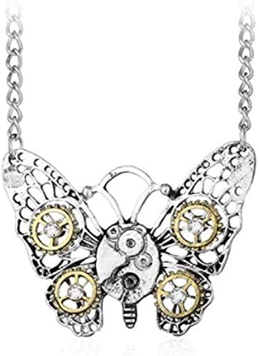NC66 Steampunk Gear Pendant NecklacePunk Vintage Ghic Love Heart Owl Butterfly Bee Insect Chain Sweater Pendant Necklace Jewelry for Women Girl