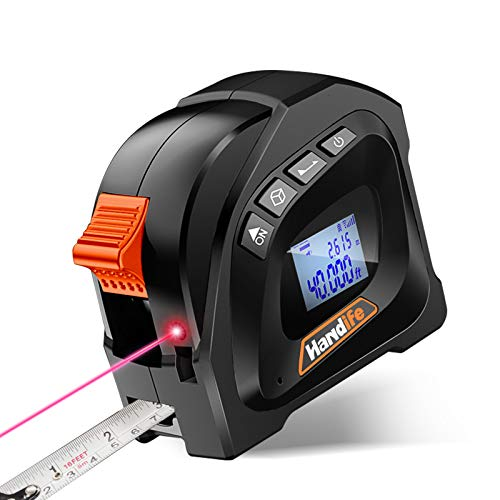 Laser Tape Measure 2-in-1, Laser Measure 131 Ft/40M, Digital Tape Measure 16 Ft /5M, Laser Distance Measurer with LCD Digital Display for Measuring Area/Volume/Pythagorean- DIY Houses Carpenter