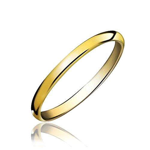 Bling Jewelry Sottile Minimalista Coppie Cupola Fede Nuziale Lucidati 14K Placcato Oro Anello di Tungsteno per Uomini per Donne 2Mm